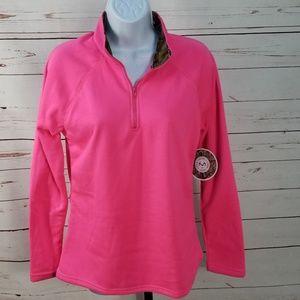 Real Tree 1/4 zip Fleece Jacket Camo Collar Pink